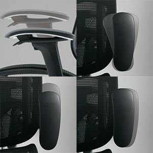 ▲高機能チェアならでは上下、角度)、前後、左右を調節できるアーム